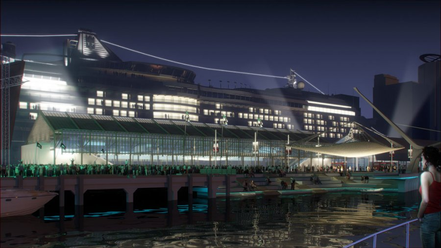 Queens Wharf Competition_Render_West_Night